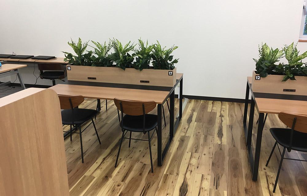 グリーンで仕切り、落ち着いて学習できる空間になっています