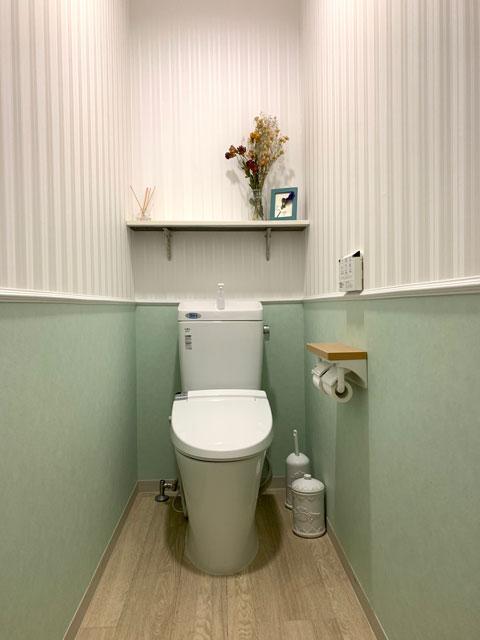 可愛く清潔感のあるトイレデザイン。