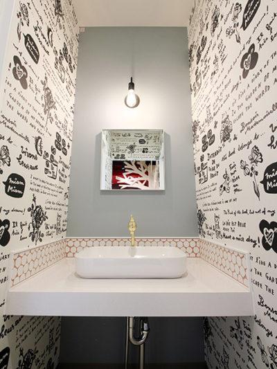 お客様の洗面所です。キメ細かな意匠デザインも気づいてもらいたいです。
